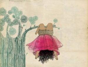 Barn hänger i gren