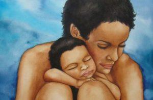 Mamma med lugn bebis