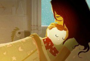 Pojke sover med mamma