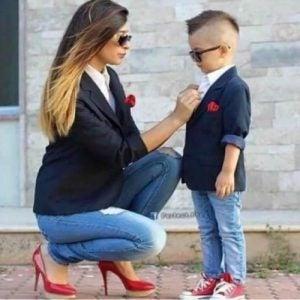 Uppklädd son