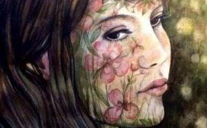 Blomstermålad kvinna
