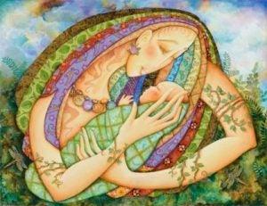 Mamma med bebis