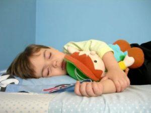 Pojke sover med gosedjur