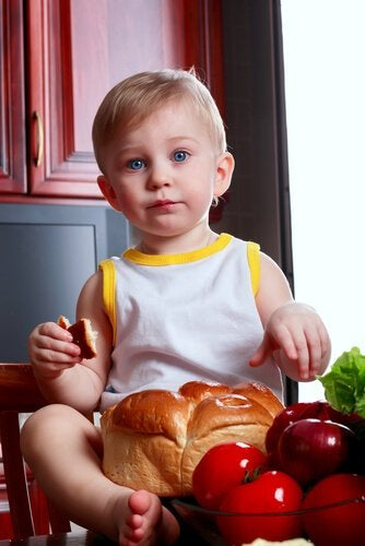 Barn med bröd
