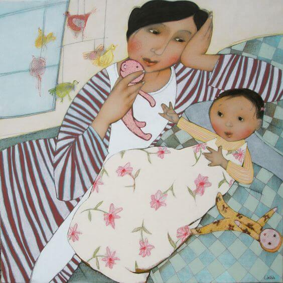Mamma med bebis och dockor