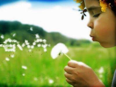 Barn som blåser på blomma.