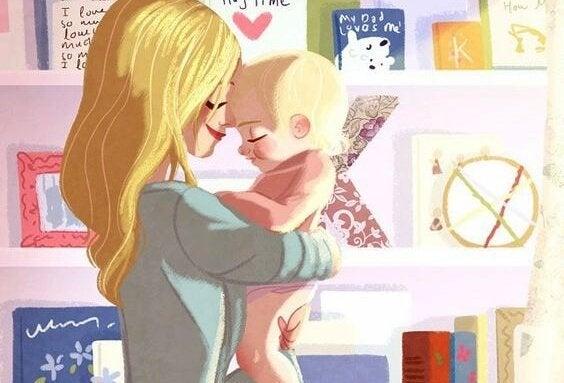 Mamma lär känn sin nyfödda bebis