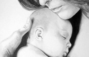 Mamma med bebis i famnen