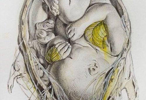 Skiss på en bebis i mammas mage.
