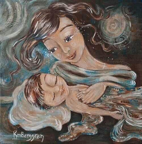 En tillgiven mamma med sitt barn.