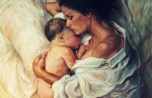 En moder med sitt sovande barn.