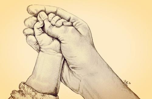 När ditt barns lilla hand griper tag om ditt finger
