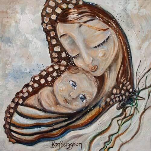 dina armar är den vackraste juvelen på min nacke: illustration av mor och barn