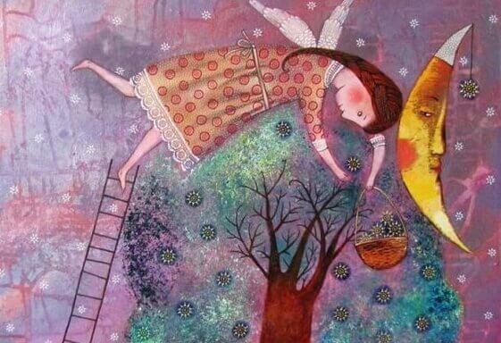 Kvinna som plockar blommor från träd.