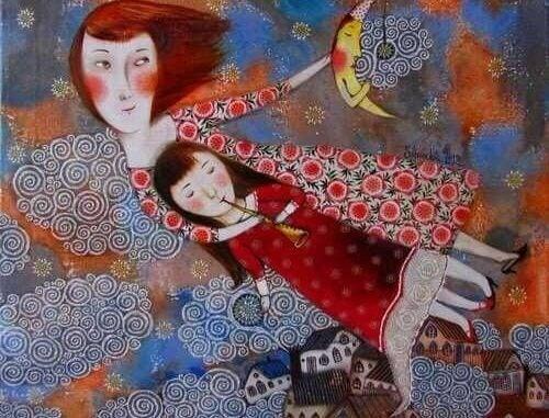 Målning av mamma och barn.