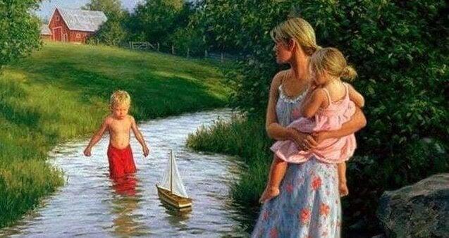 illustration av mamma som leker med två barn i en bäck