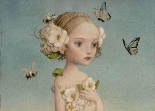 flicka med blommor och fjärilar