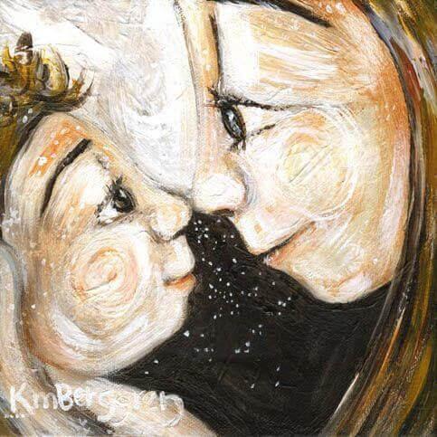 illustration av mor och barn