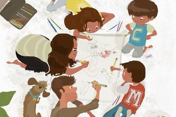 familj ritar teckning tillsammans