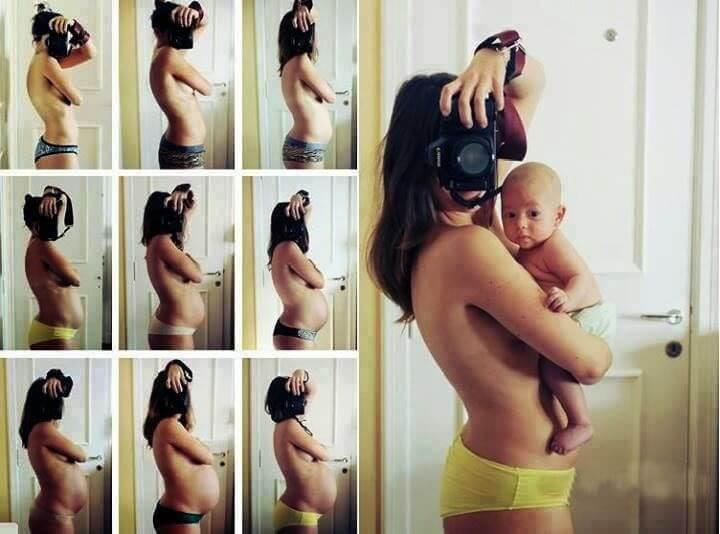 gravidfotografering: flera kort med gravid kvinna och sedan samma kvinna med baby