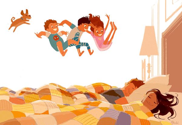 3 barn och hund hoppar i säng där föräldrarna sover