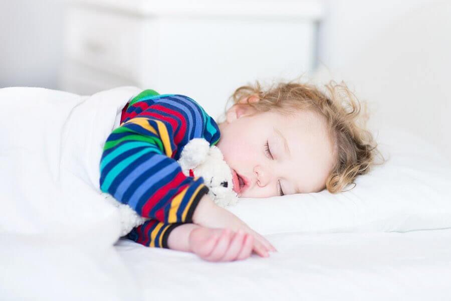 sluta sova på dagen: barn sover med nalle