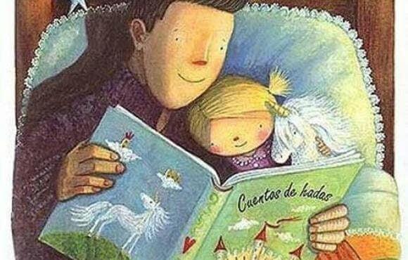 pappa läser godnattsagor för flicka