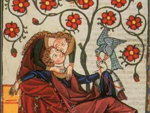Medeltida illustration av kärlekspar