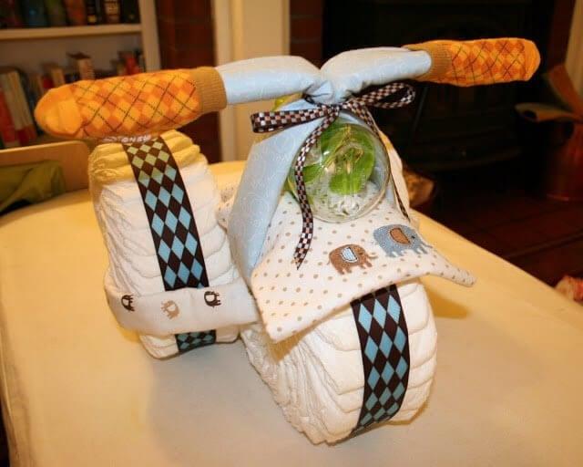 trehjuling med blöjor
