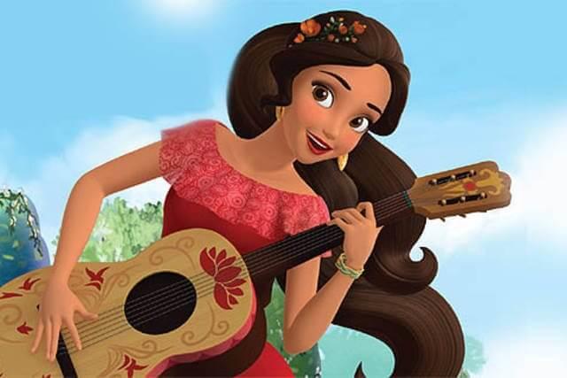 Elena från Avalor spelar gitarr.
