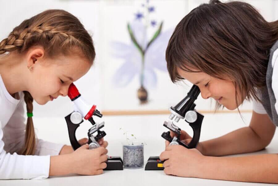 barn utför vetenskapliga experiment