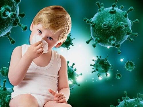 barn snyter sig med illustration av virus i bakgrunden