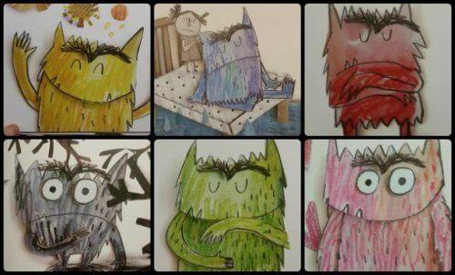 Monster med olika färger.