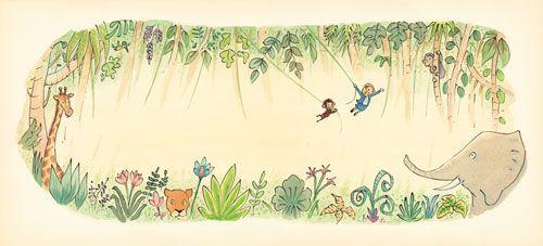 En kvinna som hänger med apor och elefanter.