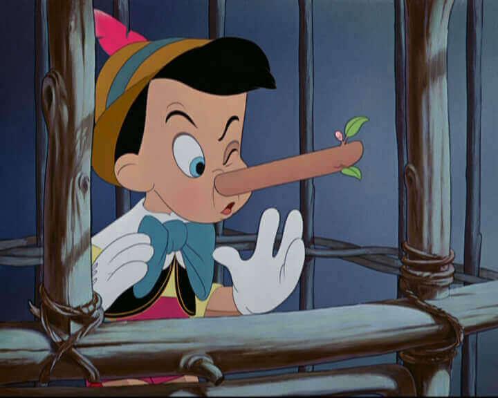 Pinnochio med lång näsa.