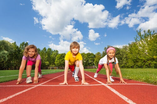 barn redo för att springa ett lopp