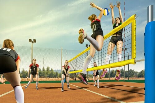 illustration av flickor som spelar volleyboll