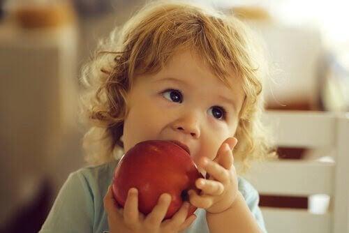 rekommenderade frukterna: flicka biter i äpple