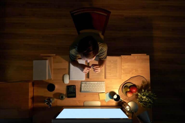 organisera en bra studieplan: barn gör läxor vid skrivbord
