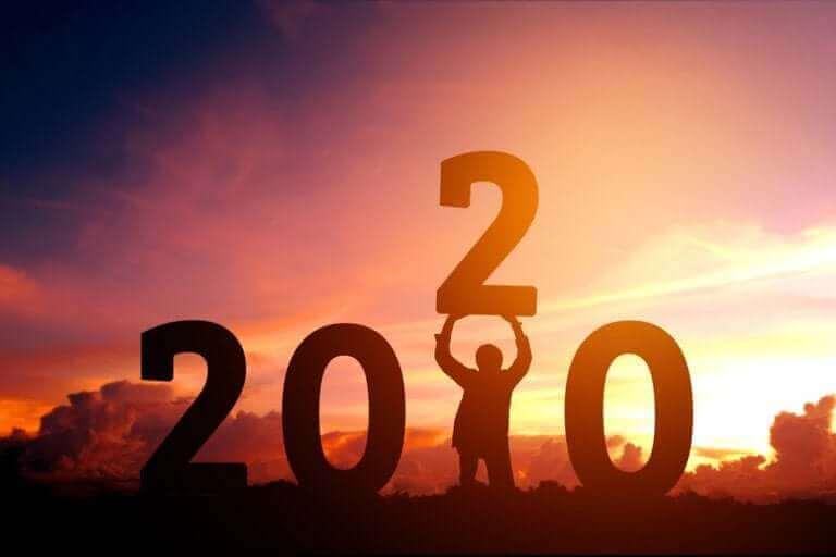 Siffror som visar det nya året.