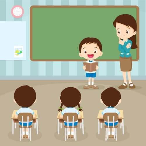 uppmuntra läsning: barn och lärare i klassrum