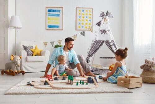 Kvalitetstid: barn som leker med sin pappa.