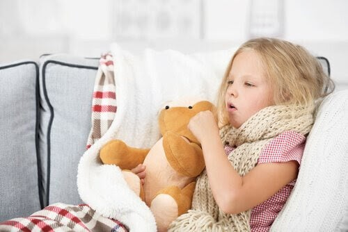 Difteri: barn som är sjuk i säng