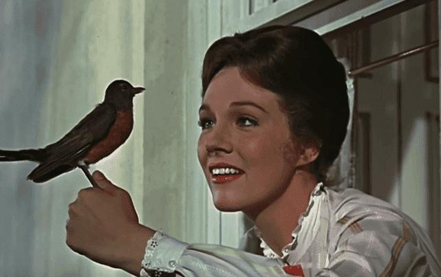Mary Poppins med fågel