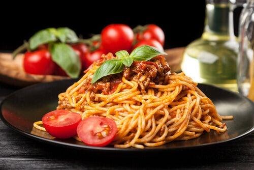 recept med låg fetthalt: spagetti