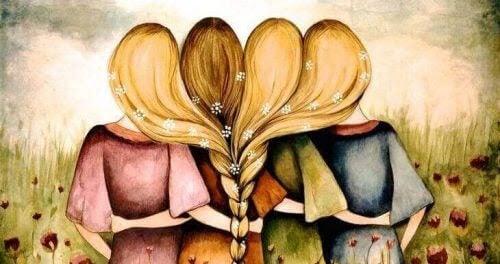 magiska tänkande: illustration av flickor med sammanflätat hår