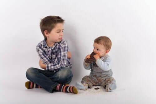 känslomässiga utveckling: storebror med busigt småsyskon