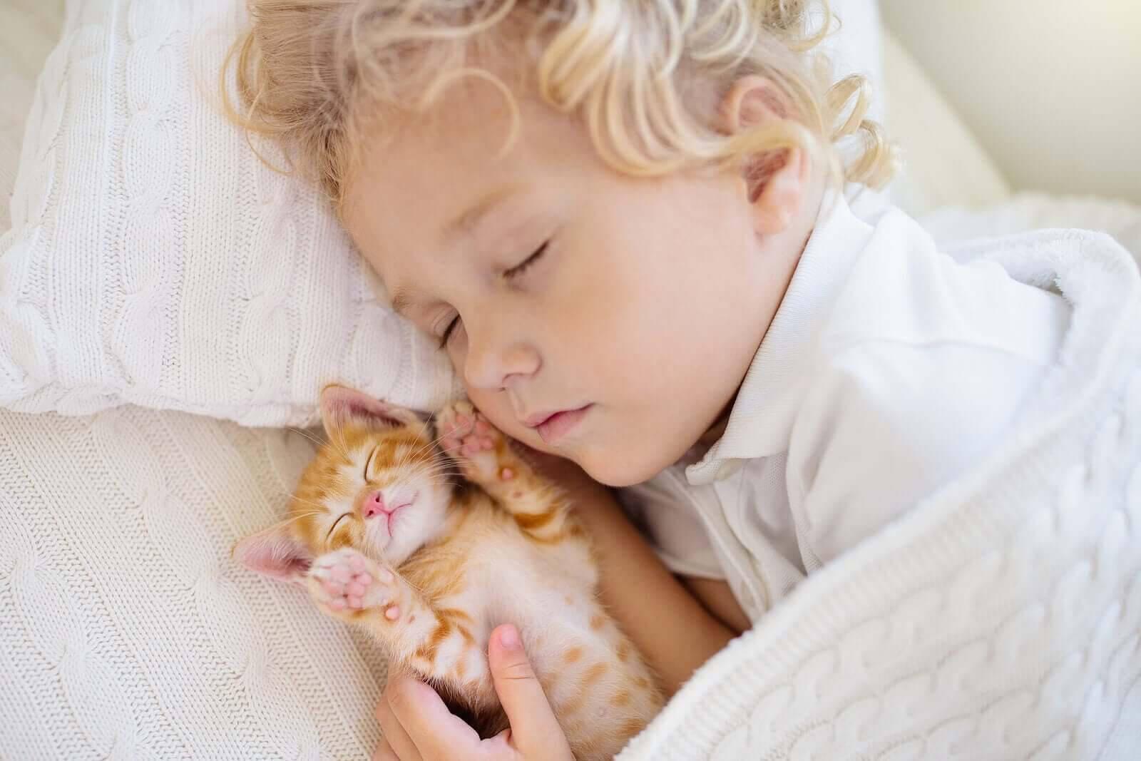 Barns sömnmönster: barn och kattunge sover