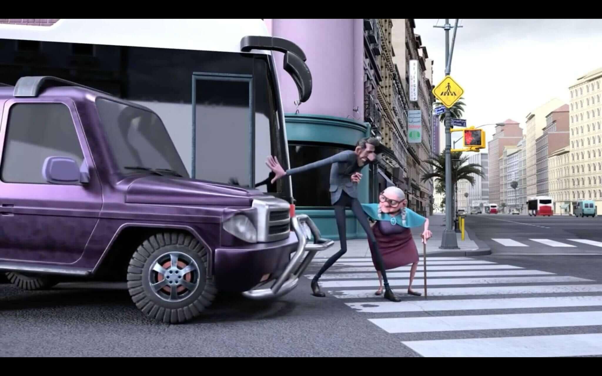 Mr. Indifferent stannar en bil för att hjälpa andra korsa gatan