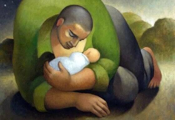 min nutid: pappa håller baby